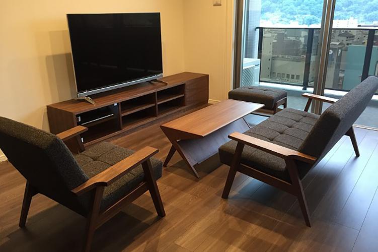 長崎県R様のコーディネート ballena bench + ballena chair + kai sofa + delta low table