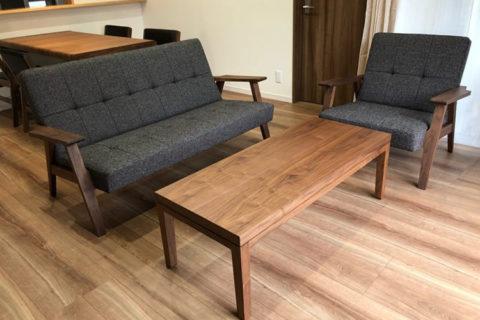 長崎県N様のコーディネート|kai sofa 2p + kai sofa 1p + cielo low table + ballena table + ballena chair